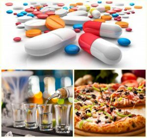 Interaction with alcohol, tablets and foods