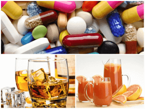 Interaction with alcohol, tablets and grapefruit